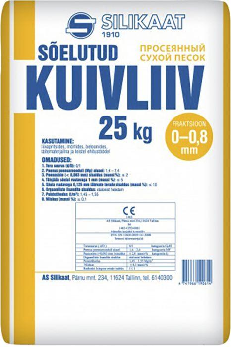 Sõelutud kuivliiv  0 - 0,8 mm 25 kg