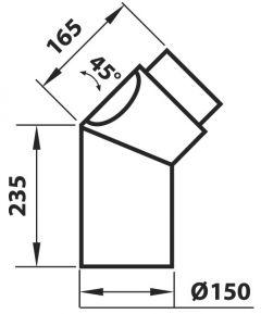 Ühendustoru Aduro must 45° puhastusluugiga 235 x 165 mm
