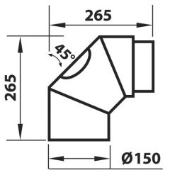 Ühendustoru Aduro must 2 x 45  265 x 265 mm puhastusluugiga