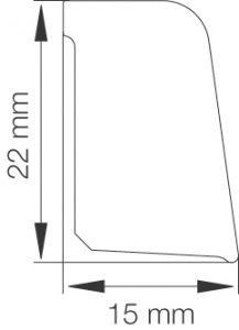 Vaibaliist Primo 15 x 22 x 2500 mm, alumiinium plastik