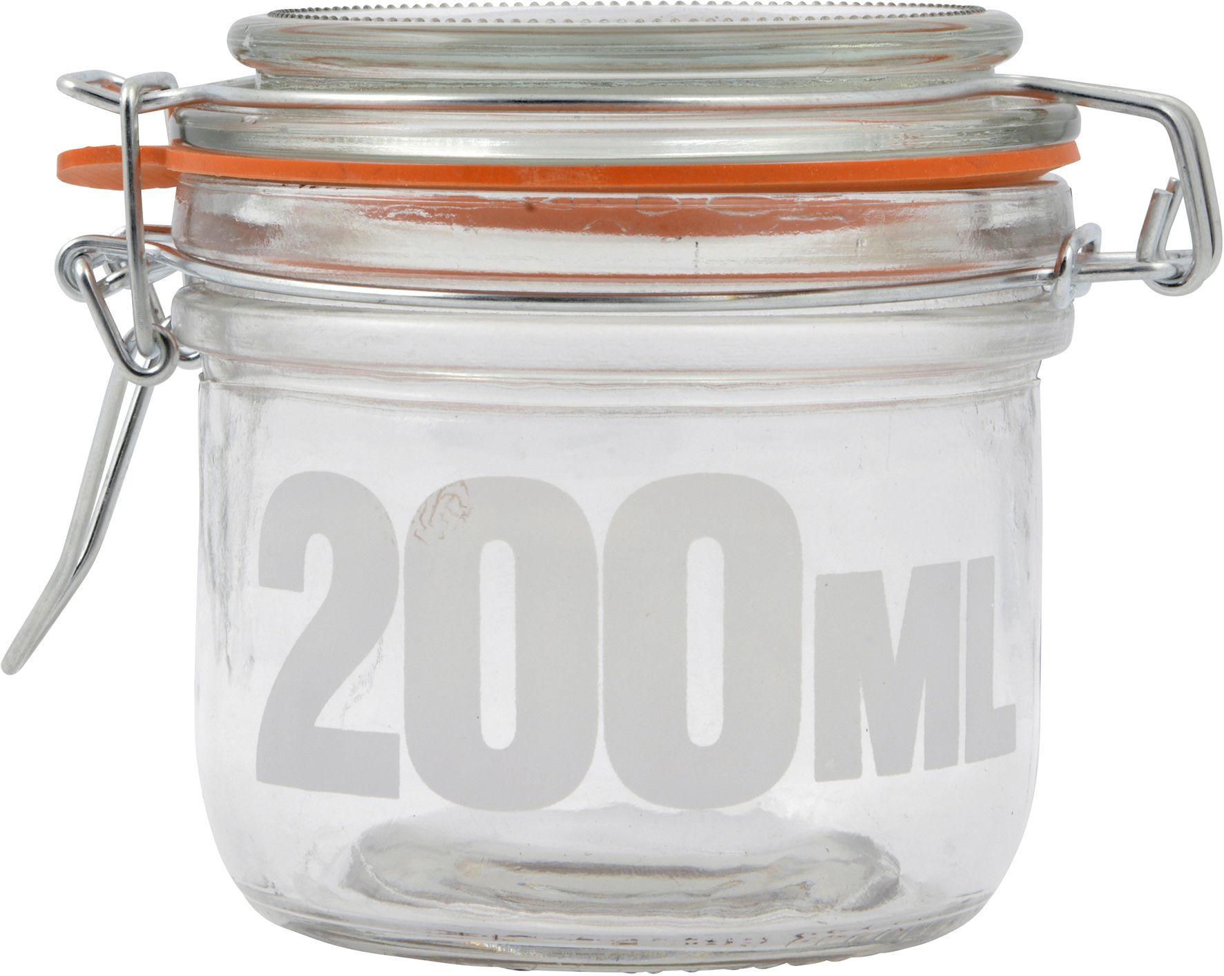 Patentkaanega klaaspurk 200 ml tekstiga