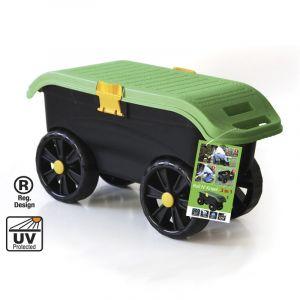 Säilituskastiga aiatööpink ratastel