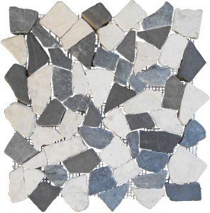 Looduskivimosaiik must/hall/valge 30 x 30 cm