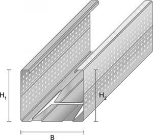 Metallkarkassi vertikaalprofiil VP-66/35, 2600 mm