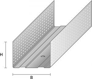 Metallkarkassi horisontaalprofiil HP-66/30, 3000 mm