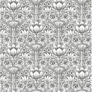 Fliistapeed Black & White Rosegarden