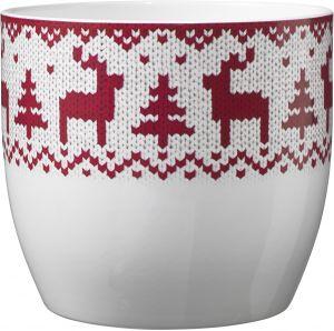 Ümbrispott Basel Knitted Elk Red Ø 14 cm