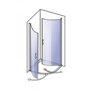 Ümar dušinurk Camargue Vario 90 x 90 cm valge