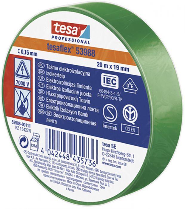 PVC isoleerteip 20 m x 19 mm,  roheline
