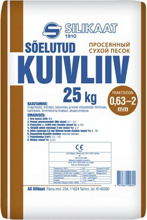 Sõelutud kuivliiv Silikaat 0,63 - 2,0 mm 25 kg