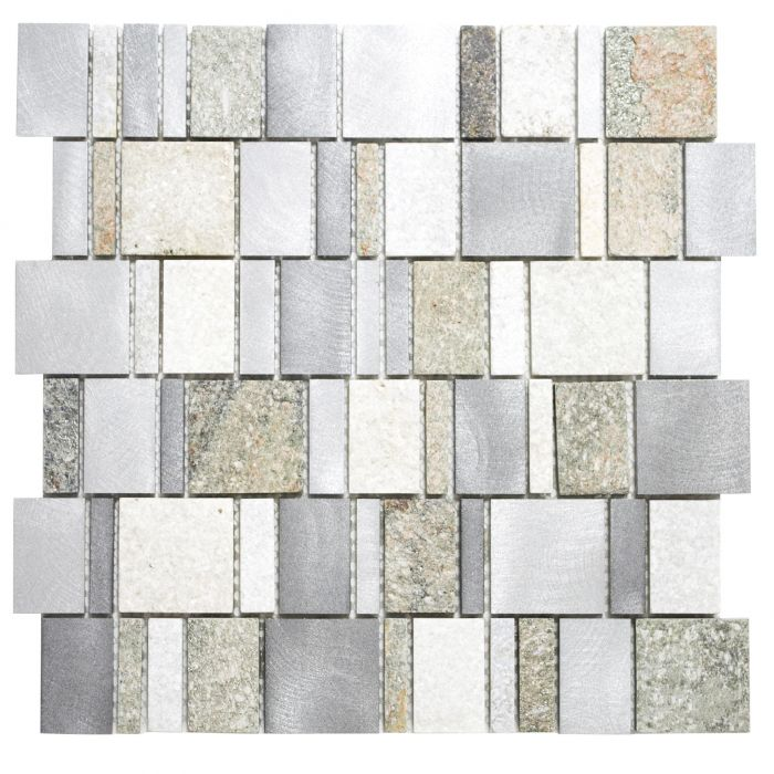 Mosaiik kvartsiit/alumiinium 29,6 x 29,8 cm