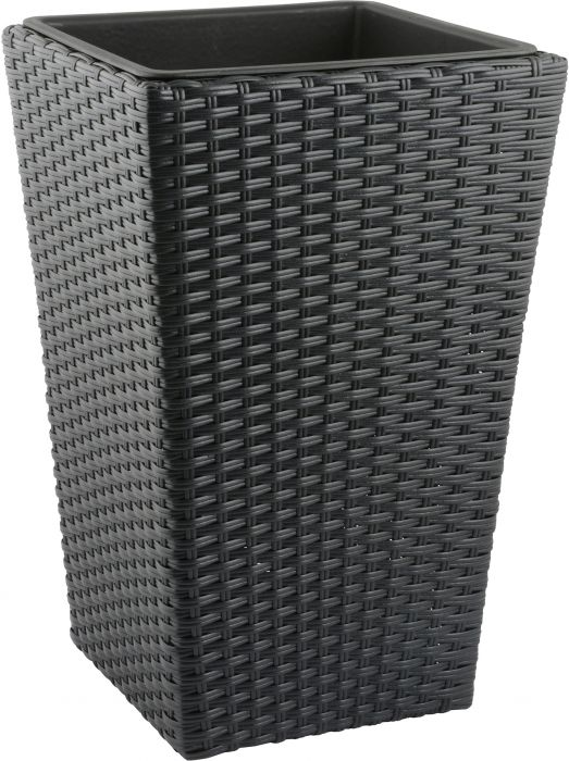 Õuepott polürotang 31 x 31 x 50 cm, must