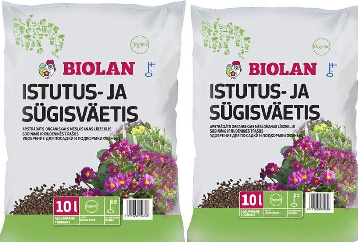 2 kotti Istutus- ja sügisväetist Biolan 10 l
