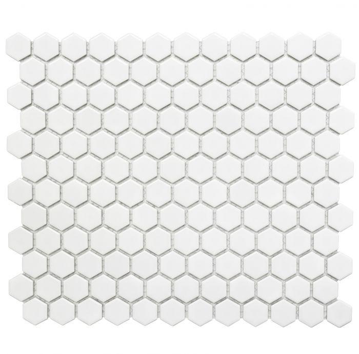 Mosaiik Hexagon valge 26 x 30 cm Matt
