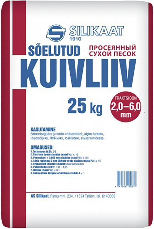 Sõelutud kuivliiv 2,0 - 6,0 mm 25 kg