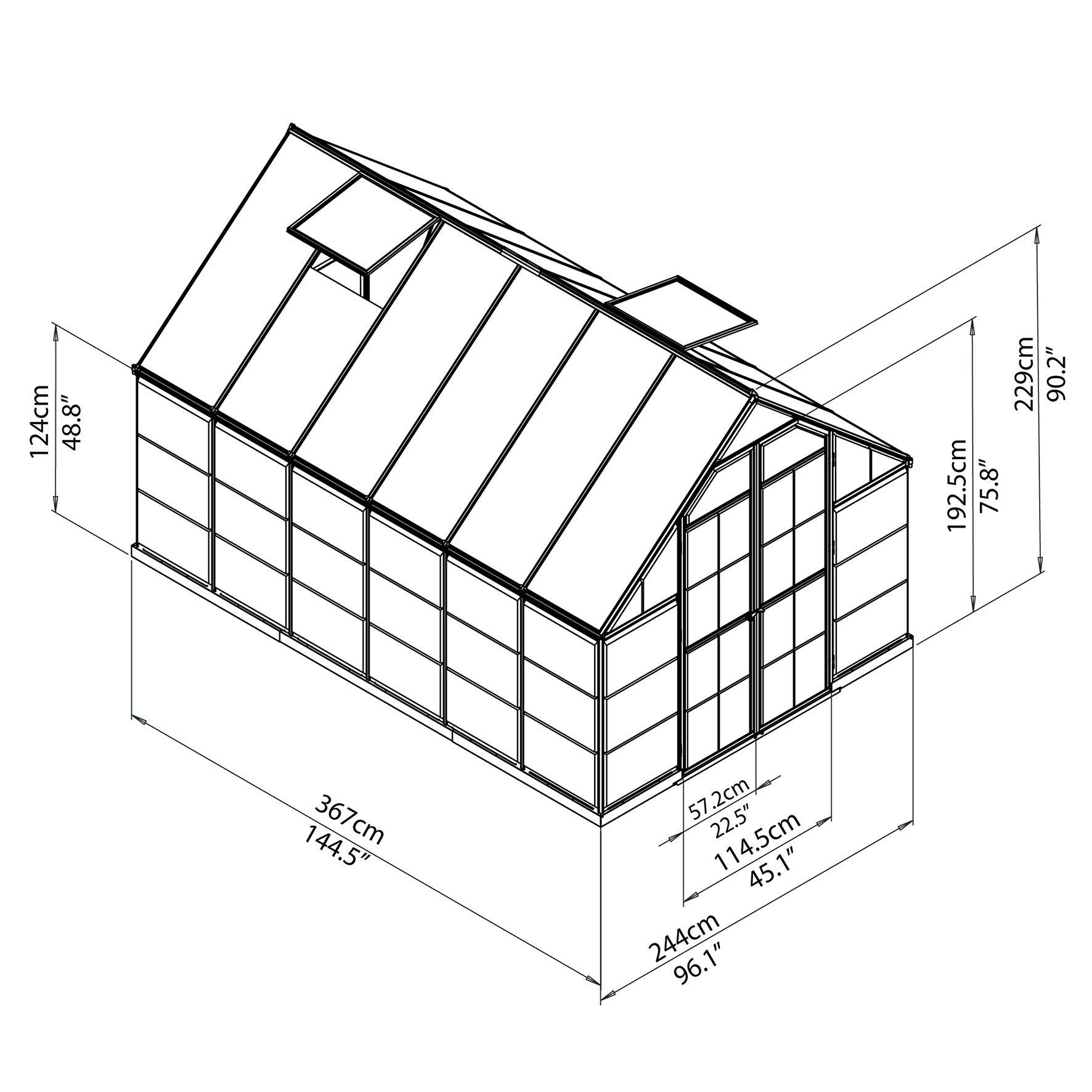 Kasvuhoone Balance 8,9 m² (243 x 367 cm)