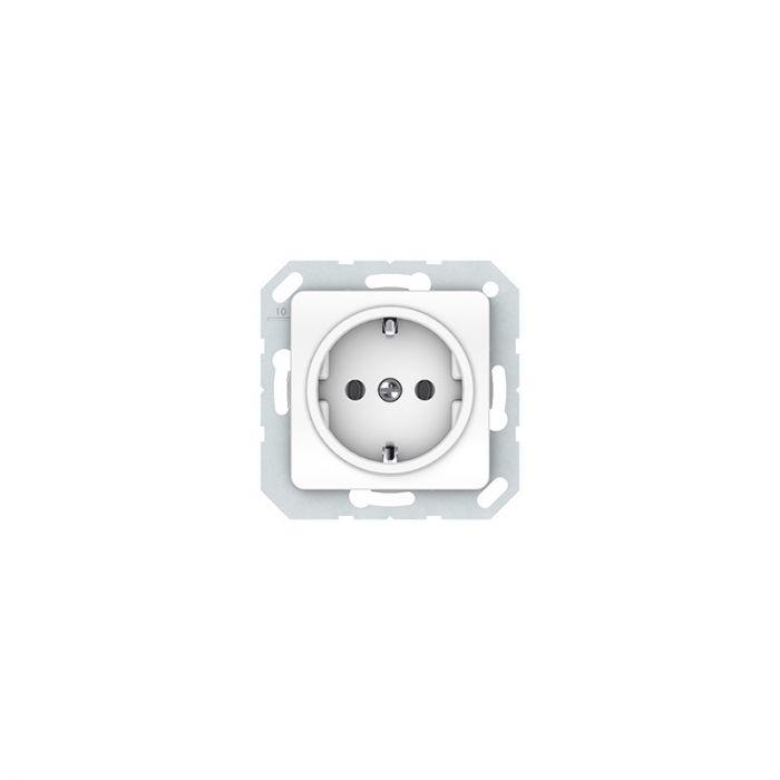 Süvistatav maandusega pistikupesa raamita SL valge