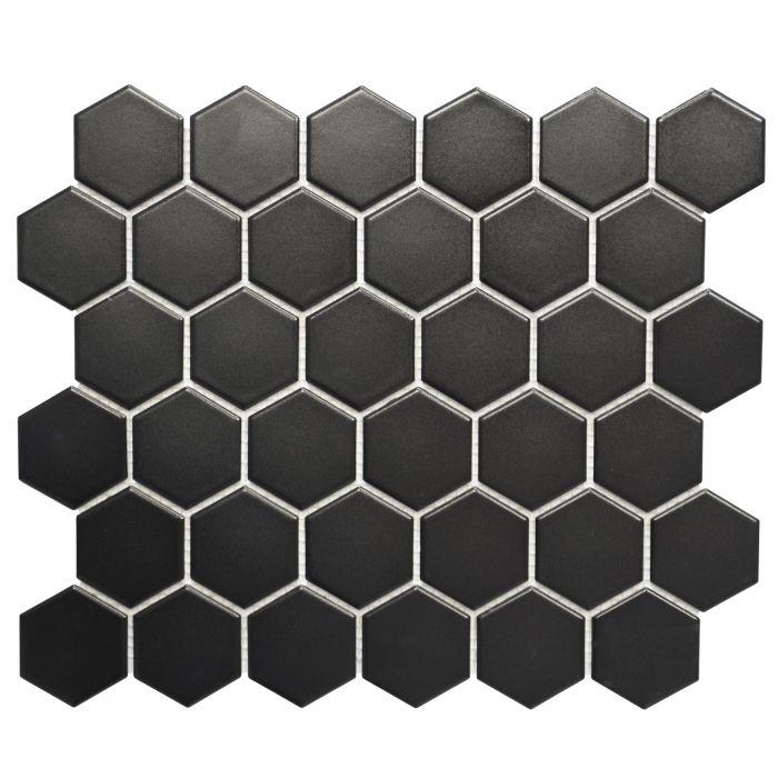 Mosaiik Hexagon must 32,5 x 28,1 cm Matt