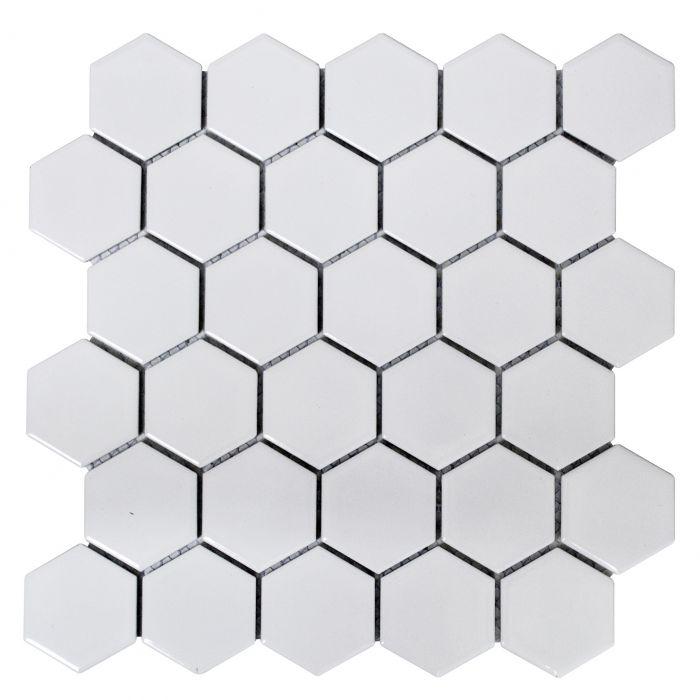 Mosaiik Hexagon valge 32,5 x 28,1 cm Läikiv