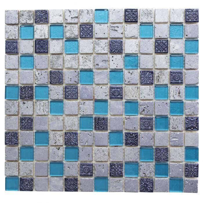 Mosaiik sinine/hall 30 x 32,5 cm