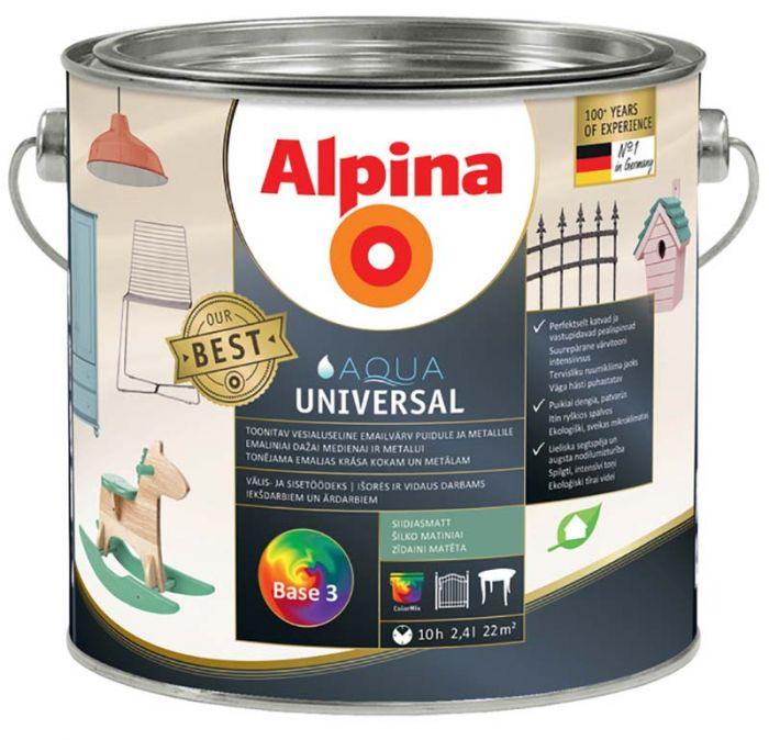 Vesialuseline emailvärv Alpina Aqua Universal 2,4 l siidjasmatt