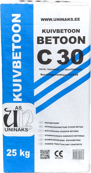 3 kotti Kuivbetooni Uninaks C 30 25 kg