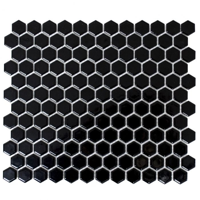 Mosaiik Hexagon must 26 x 30 cm Läikiv