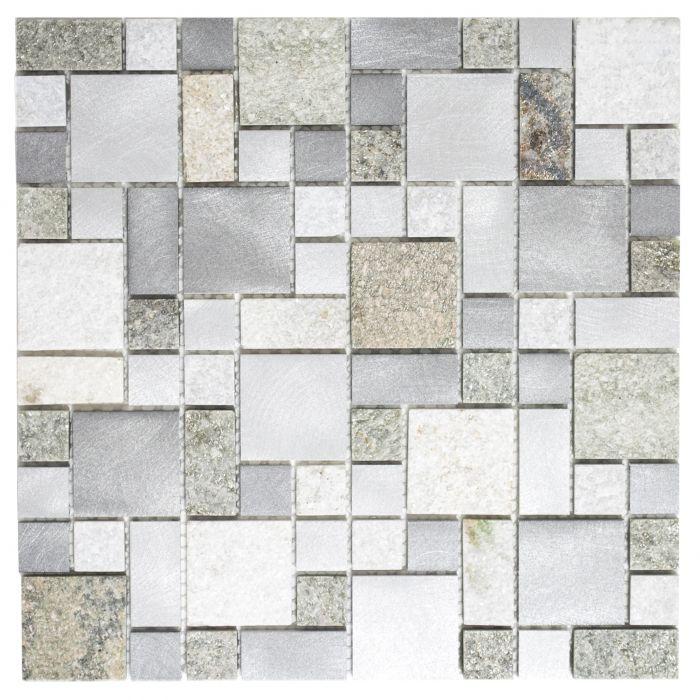 Mosaiik looduskivi/metall 30 x 30 cm