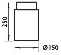 Ühendustoru must 250 mm