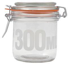 Patentkaanega klaaspurk 300 ml tekstiga