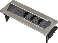 Pikendusjuhe süvistatav Brennenstuhl 3-pesa, 2 x USB