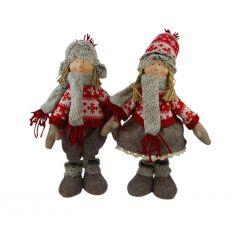 Jõulukaunistus Karvamütsiga tüdruk/poiss 38 cm