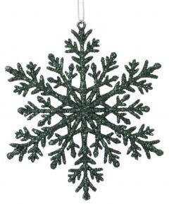 Jõulukaunistus lumehelves 110 mm tumeroheline